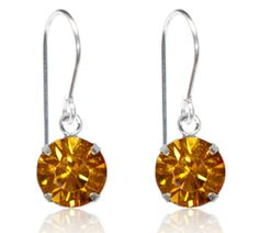 Golden Topaz Single Crystal Drop Earrings - $9.80