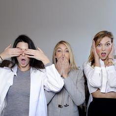 Kendall, Gigi, and Karlie backstage at Michael Kors #NYFW