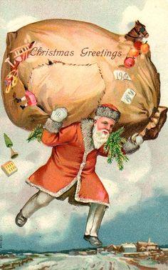 Divided Back Postcard Santa with Big Bag of Gifts Santa Claus Noel Christmas, Victorian Christmas, Father Christmas, Christmas Greetings, Christmas Journal, Xmas, Christmas Things, Christmas Decor, Vintage Christmas Images
