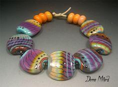 SRA LAMPWORK BEADS Donna Millard orange purple by DonnaMillard, $85.00