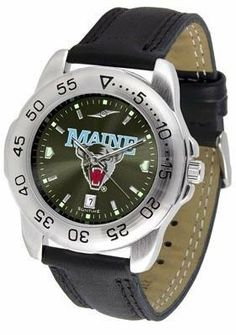 Maine Black Bears Men's Leather Band Sports Watch by SunTime. $55.95. UMaine Black Bears men's sports watch. This Black Bears watch comes with a genuine leather strap. A date calendar function plus a rotating bezel/timer circles the scratch-resistant crystal. The scratch resistant face protects the watch from the hardest workouts and the most dedicated athletes. The AnoChrome dial option increases the visual impact of any watch with a stunning radial reflection similar to tha...