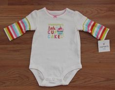 NWT Carter's Mommy's Little Cupcake Onesie Striped Girl 3 M Months 100% Cotton #Carters #Everyday