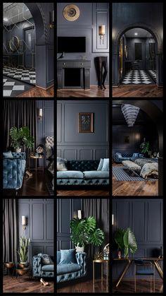 Bachelor Pad_Dark is Back Bedroom, Table Lighting, Wardrobe, Porcelain Tile Floor, Dark Hardwood Flo Classic Interior, Home Interior Design, Interior Decorating, Deco Spa, Living Room Designs, Living Room Decor, Dark Living Rooms, Room Tiles, Dark Interiors
