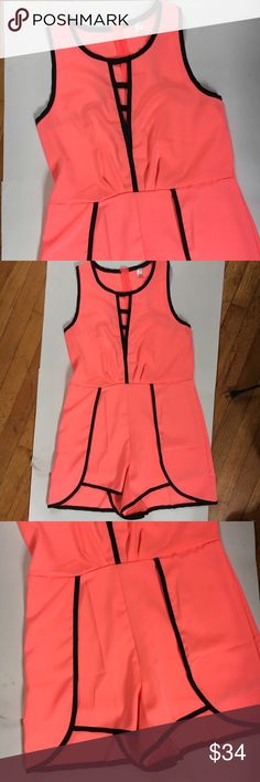 Zhenzi block color pink and black romper I am absolutely in love with this romper because it is super unique and not something you see every day. Approximate measurements are: bust 31 inches; waist 28 inches;  length 30 inches Zhenzi Pants Jumpsuits & Rompers