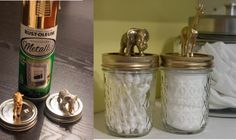 Nursery DIY & Organization- glue toy animals to jar lids and spray paint over. how cute