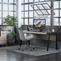 40 Modern Home Office Ideas - A modern home office is not meant to be overly ornate. Instead, it should only have minimal furniture and be free of clutter. Modern Office Desk, Contemporary Office, Home Office Decor, Home Decor, Office Ideas, Contemporary Bathrooms, Ikea Office, Office Setup, Desk Setup