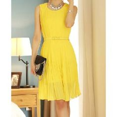 Wholesale Ladylike Plunging Neck Ruffled Sleeveless Chiffon Dress For Women (RED,XL), Chiffon Dresses - Rosewholesale.com