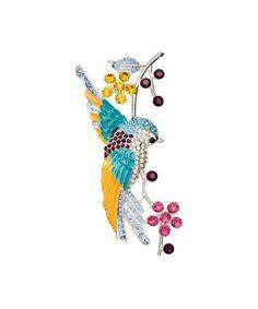 Another great find on #zulily! Blue Rhinestone & Silvertone Bird Brooch #zulilyfinds