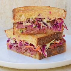 Best toasted sandwich ever. #iqs8wp Reuben Sandwich with leftover corned beef, Dijon cauliflower mash, coleslaw and cheese on sourdough.