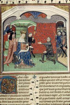 Bertrand Du Guesclin fait connétable par Charles V.Auteur Cuvelier. Titre Chronique de Bertrand Du Guesclin Datation: 15e s. (première moitié). Rouen - BM - ms. 1143.