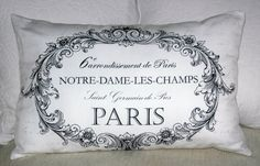 Paris Cushion-French and Sparrow Pillow Fight, Pillow Talk, Black And White Cushions, Paris Arrondissement, Linens And Lace, Sachets, Perfect Pillow, French Decor, Dorm Room