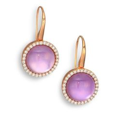 Roberto Coin Cocktail Amethyst, Mother-Of-Pearl, Diamond & 18K Rose... (309.110 RUB) ❤ liked on Polyvore featuring jewelry, earrings, gold, 18k rose gold earrings, iridescent earrings, rose gold jewelry, holiday earrings and amethyst earrings