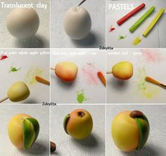 Beautiful apple tutorial using translucent clay and pastels