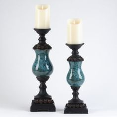 Add just a little masculine overtones to the room with these regal candle holders.  Pair with the flavor of choice candles and the romantic mood is set.