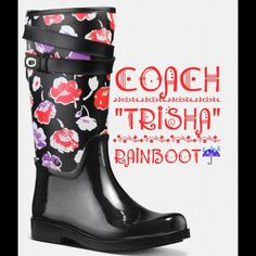 "☔️COACH ""TRISHA"" RAINBOOTS ☂ Coach ""Trisha"" Rainboots for Spring!  Stylish and very comfortable boots with rubber & upper floral canvas. They are a little bit too big for me, so I am selling. Brand with box and care card. Make me a reasonable offer Coach Shoes Winter & Rain Boots"