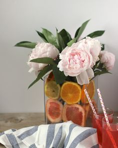 Slices of citrus add the color and the beauty of summer's flowers!