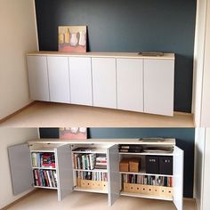 Adding a solid piece of wood to the top to unify the cabinets into one large Ivar piece --- tW  sideboard med köksstomme - Sök på Google