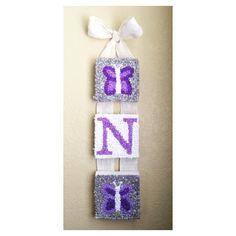 Handmade for a little girl\'s room   #tissuepaperart #girlnursery #purple