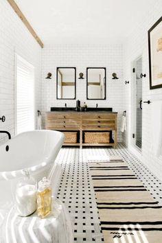 Room Redo | Warm Black and White Bathroom