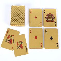 Waterproof Gold Foil Playing Card Advertising Poker Handicraft - Golden - & Hobbies, Novelty & Gag Toys, Other Novelty & Gag Toys # # Gold Playing Cards, Magic Props, Close Up Magic, Puppet Toys, Plastic Foil, Game Prices, Gift Table, Hand Puppets, Retro Toys