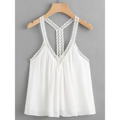 SheIn(sheinside) Crochet Trim Cami Top ($10) ❤ liked on Polyvore featuring tops, white, white halter tank top, boho tank tops, white cami, halter top and cami tank