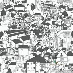 Tapeta w budynki, domki, domy, miasto, dachy eco czarno biała Black and White