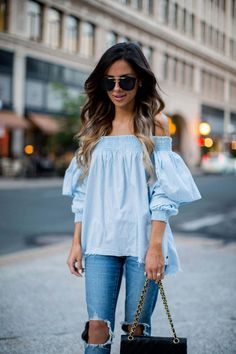minnesota fashion blogger mia mia mine wearing an off-the-shoulder top from shopbop and sunglasses from nasty gal