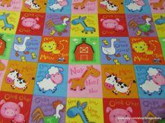 Flannel Fabric  Farm Animal Patch Multi  1 yard  100%