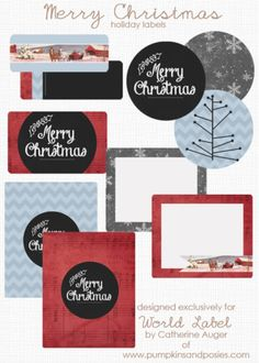 Free Printable Labels to Download: These really beautiful Merry Christmas Holiday Labels are designed by pumpkinsandposies.com