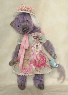 "18"" mohair bear. Custom dyed an old purple. Vintage style dress. Vintage trims. BradyBears.com"