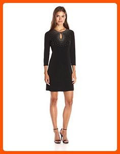 Calvin Klein Womens 34 Sleeve Sheath Dress with Hot Fix Deatil Black 8 * To  view further for this item, visit the image link.