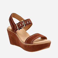 23e0c5c15bfa Aisley Orchid Dark Tan Suede Brown Wedge Sandals