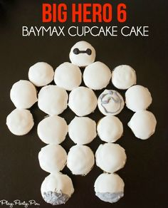 Easy Big Hero 6 Baymax cupcake cake made with marshmallow frosting (marshmallow cake boy) 6th Birthday Parties, Boy Birthday, Birthday Ideas, Kid Parties, Third Birthday, Birthday Cakes, Happy Birthday, Baking Cupcakes, Fun Cupcakes