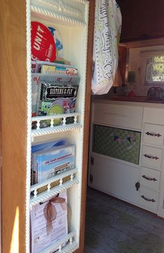 Sisters on the Fly ~ 1960 Winnebago Travel Trailer ~ furnace removed and replaced with bookcase