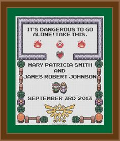 Legend of Zelda  Wedding Sampler  Cross Stitch by SpritelyStitches, $15.00...I have a couple in mind for this...