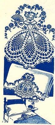 Crochet-Embroidery-Pattern-7260-Sunbonnet-Lady-w-Crochet-Skirt-for-Pillow-Case