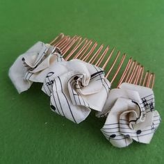 Recycled music hair accessories, unique origami rose vintage paper hair comb, eco-friendly gifts paper anniversary from husband boyfriend Origami Rose, Origami Flowers, Paper Flowers, Presents For Women, Unique Gifts For Women, Birthday Gifts For Women, Christmas Gifts For Women, Fabric Gifts, Paper Gifts