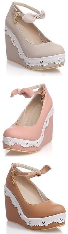 Such a girly and adorable shoes with a wedge heel and a lovely bowknot in the ankle trap <3 Repin if you also like it!