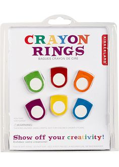 Crayon Rings  These adorable rings are made from colorful crayons! Fun to wear and lets you be ready for creativity at anytime! Set of 6 different colors.