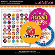 INSTANT DOWLOAD School Bottle cap image Teacher Apple by chicfield, $3.10