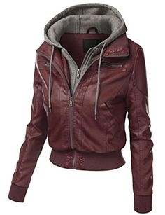 YUNY Womens Thickened Mid Long Zip Pure Colour Hood Fall Winter Outwear Red XL