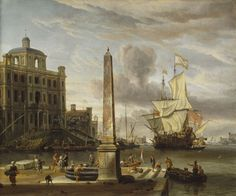 14 Storck Abraham Italianate Harbour View with a Fantasy Building and Man-of-War