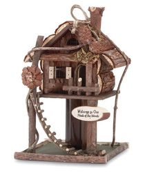 Wooden Rustic Style Free Standing Birdhouse Bird Feeder Garden Squirrel Proof