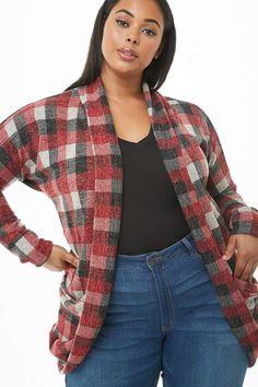 Plus Size Plaid Knit Cardigan Plus Size Fall, Plus Size Tops, Curvy Fashion Plus Size, Plus Fashion, Women's Fashion, Unique Formal Dresses, Forever 21 Plus, Plus Size Model, Curvy Outfits