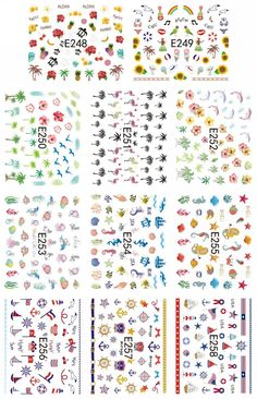 11 PCS /  LOT  SIMULATION EMULATION SELF-ADHESIVE 3D NAIL TATTOOS STICKER FLOWER BEACH FRUIT RAINBOW PALM FISH E248-258 #Affiliate
