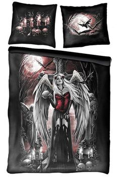 Angel of Death Double Gothic Bedding Set UK Pillows