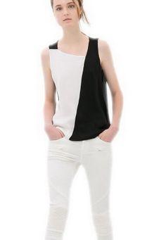 EOZY Camisa Sin Manga Para Mujer Chica De Gasa Cuello Asimétrico Blanco Y Negro (EU40)