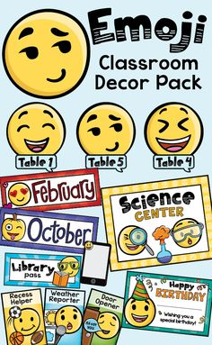 Kids will love this trendy emoji classroom decor pack!