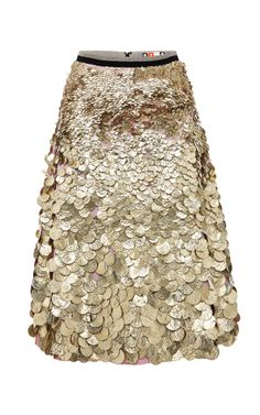 Viscose Crepe Skirt With Textured Gold Paillettes by MSGM for Preorder on Moda Operandi