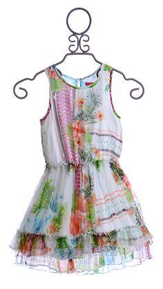 Derhy Kids Girls Chiffon White Dress in Tropical Print (Size 8/10) $39.00